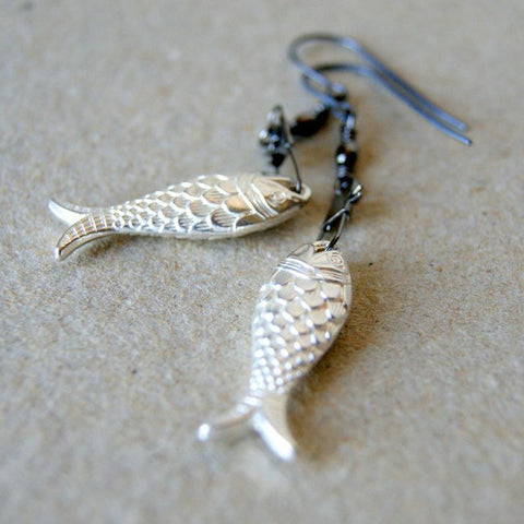 Silver Fish Earrings with Black Metal Swivel Snaps by Wear Your Wild