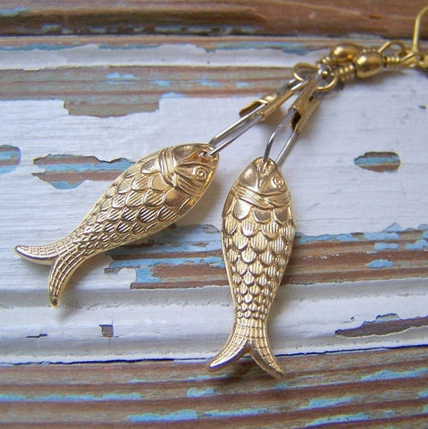 Gold Fish Earrings with Brass Swivel Snaps by Wear Your Wild