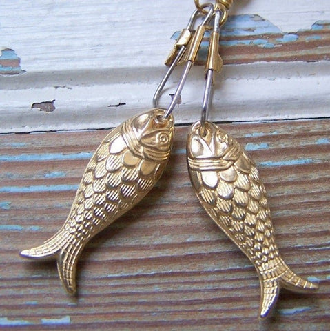 Gold Fish Earrings with Brass Swivel Snaps