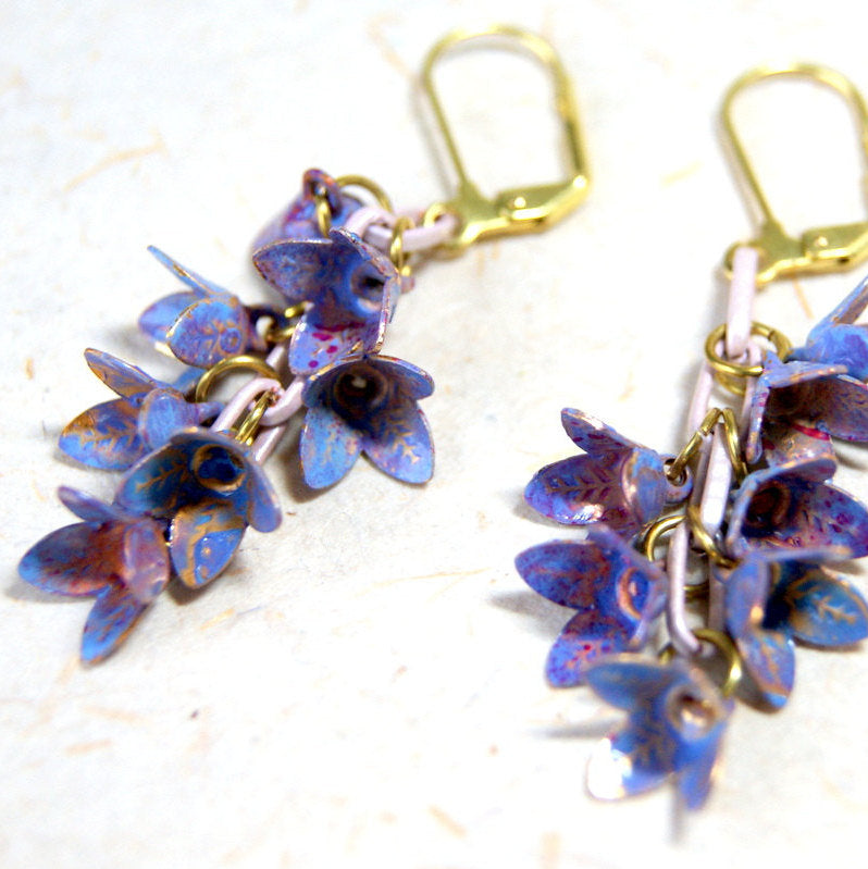Vintage Enamel Lavender and Periwinkle Blue Flower Earrings with Vintage Enameled Chain by Wear Your Wild