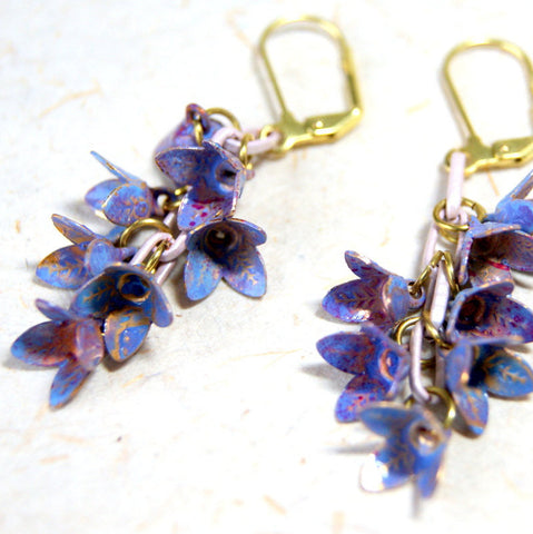 Vintage Enamel Lavender and Periwinkle Blue Flower Earrings with Vintage Enameled Chain