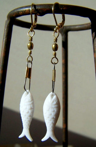 White Fish Earrings