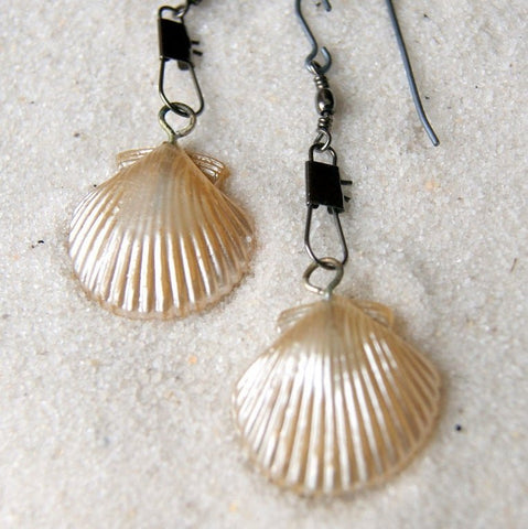 Vintage Glass Pearl Shells with Gunmetal Colored Swivel Snap Earrings