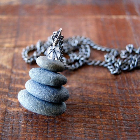 Cairn Necklace with Gray Beach Stones and Vintage Stainless Steel Chain