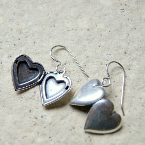 Vintage Silver Plated Brass Heart Locket Earrings by Wear Your Wild