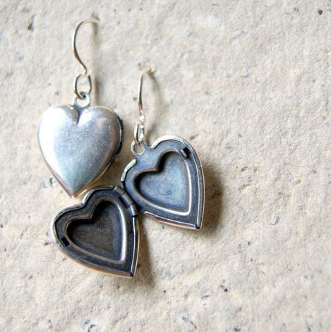Vintage Silver Plated Brass Heart Locket Earrings