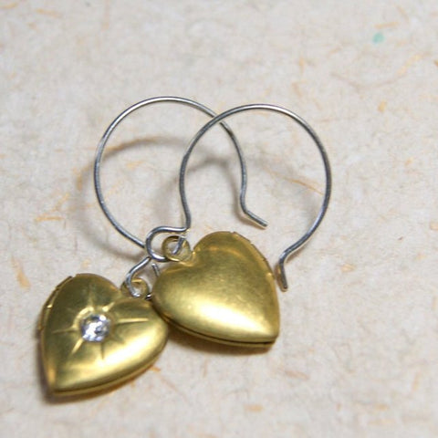 Vintage Brass Heart Locket Earrings with Crystal Rhinestones and Sterling Silver Ear Wires
