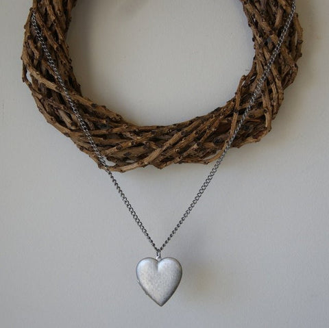 Large Vintage Silver Heart Locket Necklace
