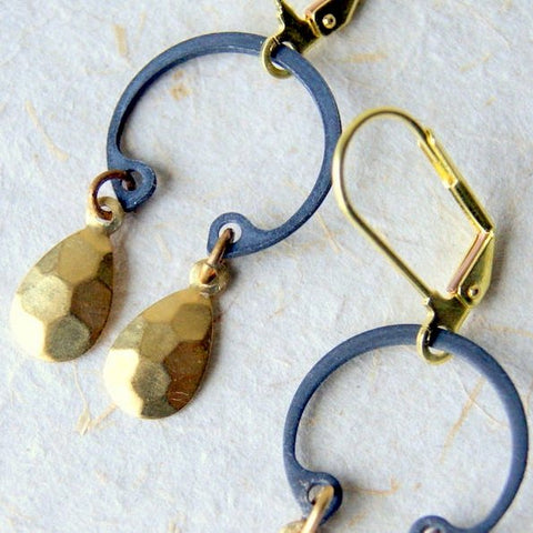 Brass Drop Earrings with Retaining Rings