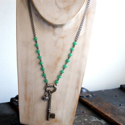 Vintage Skeleton Key Necklace with Silver Pine Cones and a combination of Vintage Chains by Wear Your Wild
