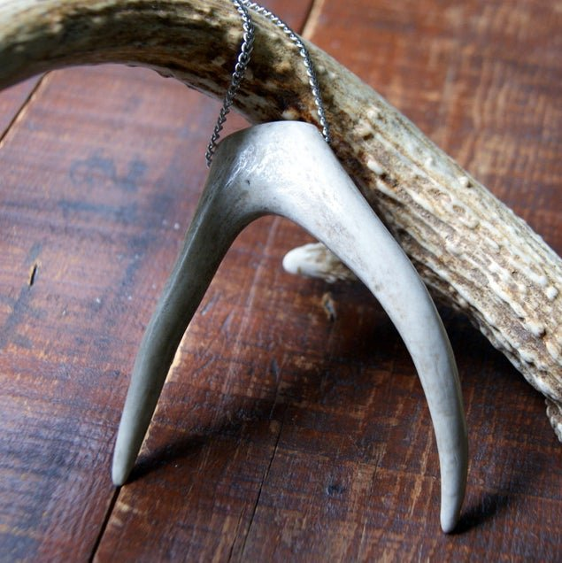 Extra Large Forked Deer Antler Tip Necklace with Vintage Stainless Steel Chain by Wear Your Wild
