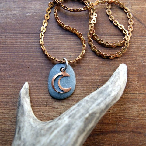 Crescent Moon Necklace with Gray Beach Stone and Vintage Chain