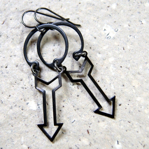 Black Industrial Arrow Earrings with Retaining Rings