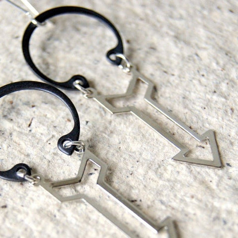 Silver Industrial Arrow Earrings with Retaining Rings