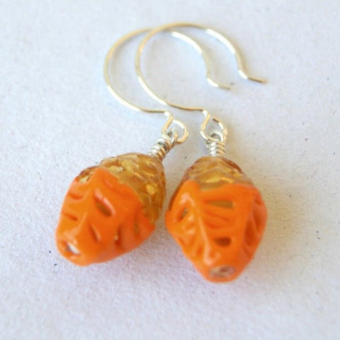 Orange and Gold Vintage Lace Glass Earrings