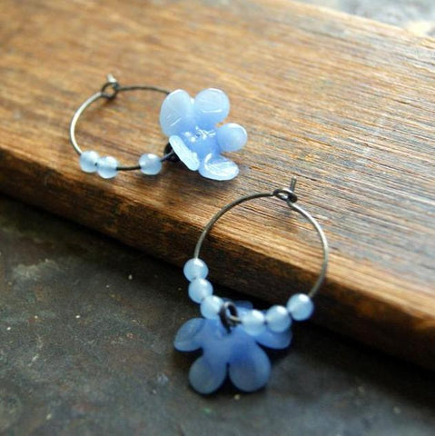 Vintage Periwinkle Glass Flowers with Oxidized Sterling Silver Hoop Earrings