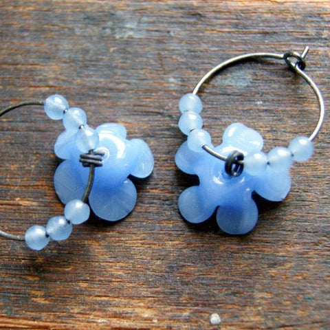 Vintage Periwinkle Glass Flowers with Oxidized Sterling Silver Hoop Earrings by Wear Your Wild