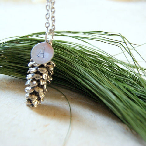 Personalized Antiqued Silver Pine Cone Pendant Necklace by Wear Your Wild