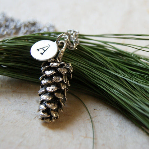 Personalized Antiqued Silver Pine Cone Pendant Necklace