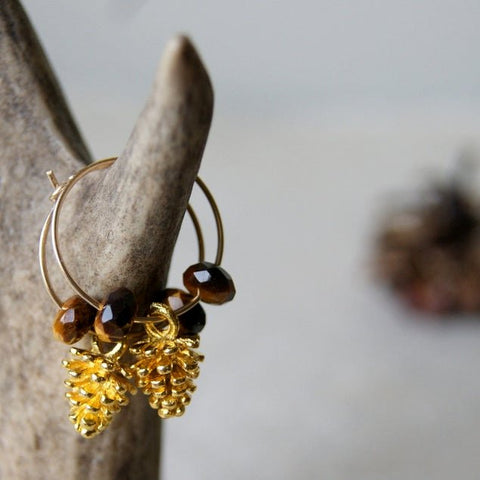 Gold Pine Cone Hoop Earrings