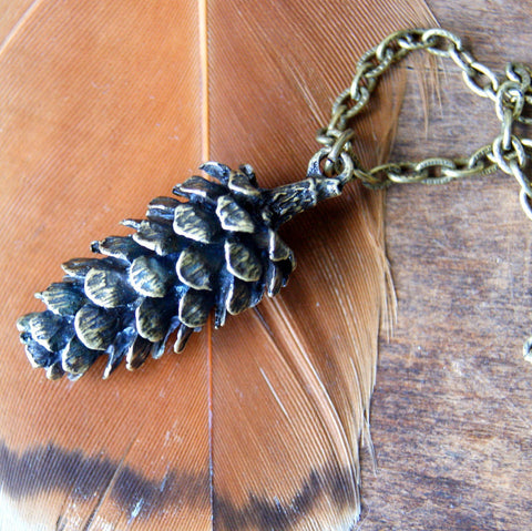 Large Antiqued Bronze Pine Cone Pendant Necklace