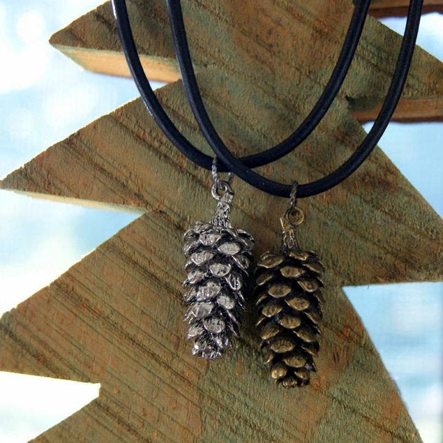 Pine Cone Necklace with Black Leather Cord by Wear Your Wild