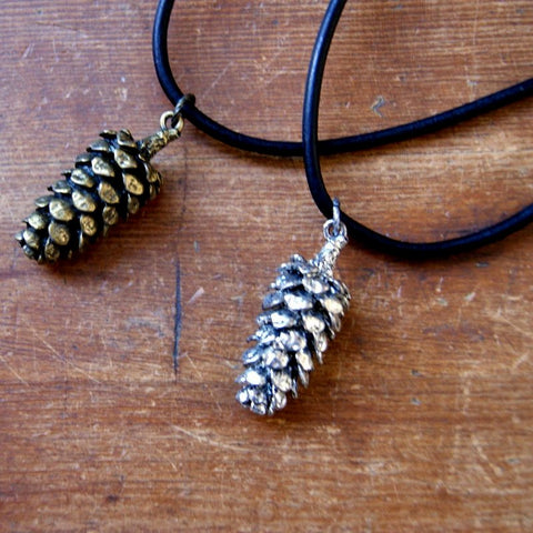 Pine Cone Necklace with Black Leather Cord
