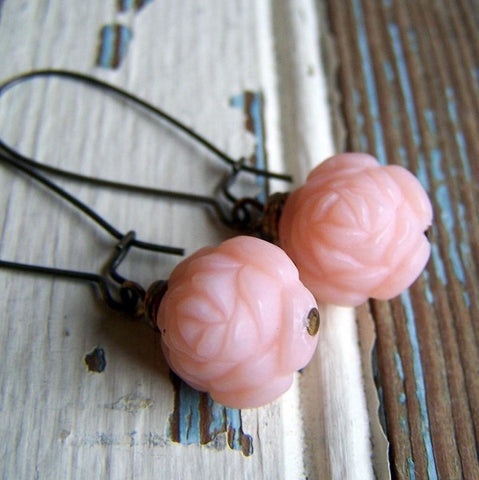Vintage Pink Lucite Rose Earrings with Antiqued Brass Kidney Earwires