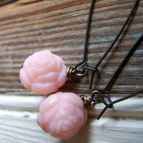 Vintage Pink Lucite Rose Earrings with Antiqued Brass Kidney Earwires by Wear Your Wild