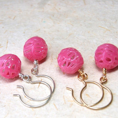 Pink vintage lace glass bead earrings with your choice of sterling silver or gold filled metal by Wear Your Wild