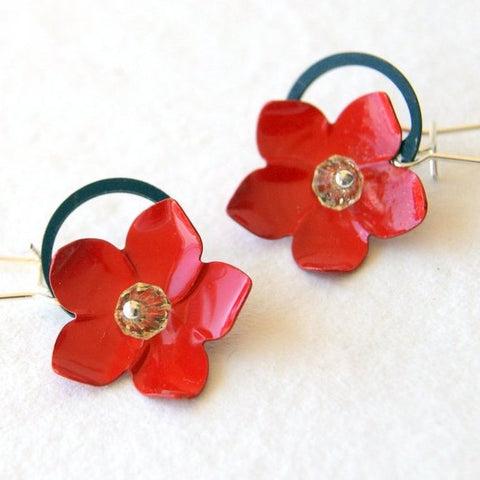 Red Flower Earrings with Black Retaining Rings