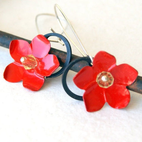 Red Poinsettia Flower Earrings with Black Retaining Rings