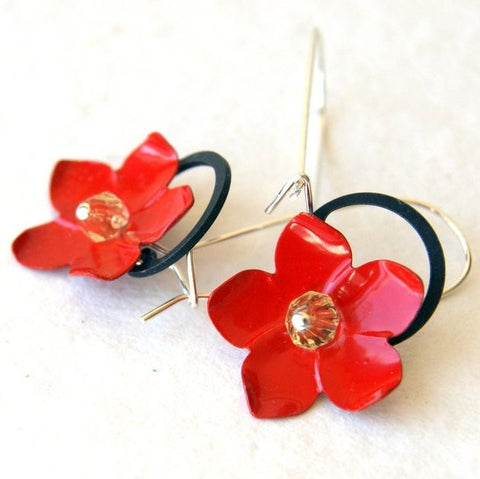Red Vintage Enameled Flower Earrings with Black Retaining Rings by Wear Your Wild