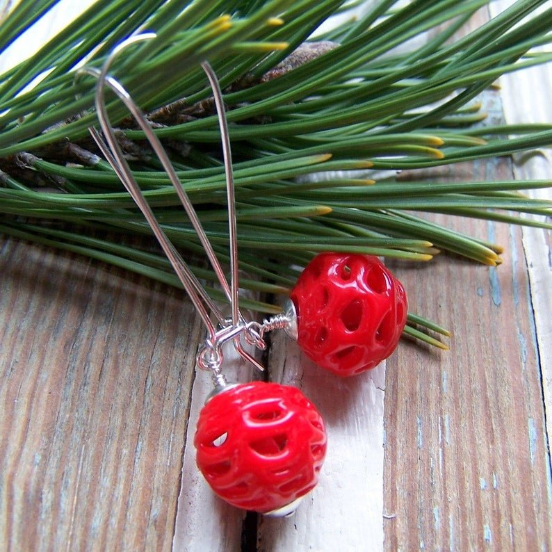 Vintage Red Glass Spider Web Bead Earrings by Wear Your Wild
