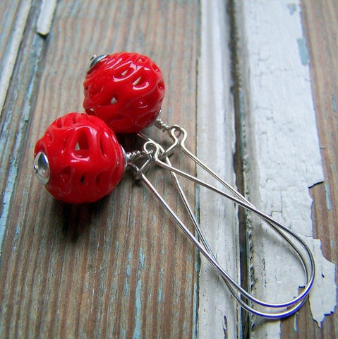 Vintage Red Glass Spider Web Bead Earrings