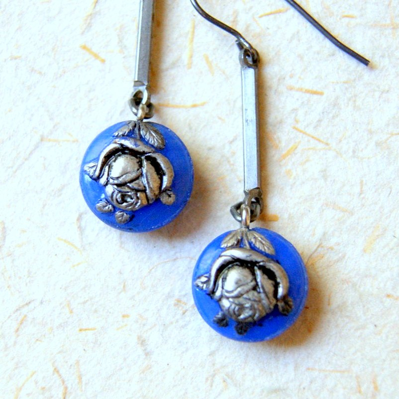 Rustic Periwinkle Blue and Silver Vintage Glass Flower Earrings by Wear Your Wild