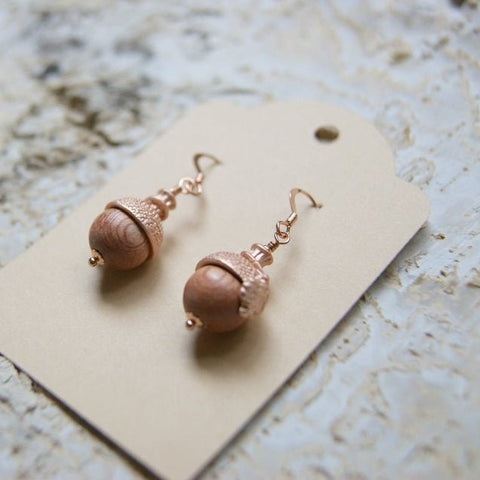 Acorn Earrings with Rosewood Beads and Rose Gold Acorn Bead Caps