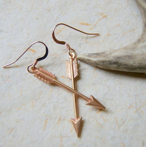 Rose Gold Brass Arrow Earrings by Wear Your Wild