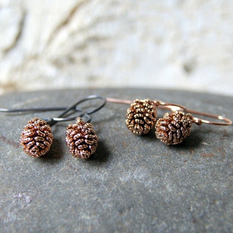 Antiqued Rose Gold Pine Cone Earrings
