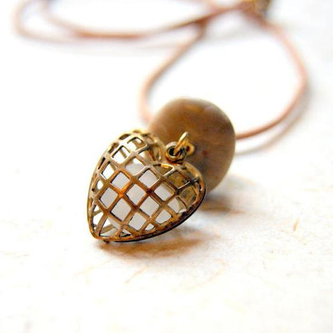 Beach Stone Cairn Necklace with Vintage Brass Cage Heart Locket Filled with White Sea Glass