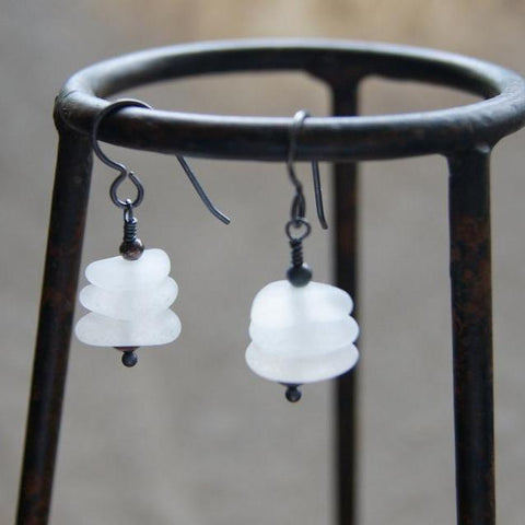 White Sea Glass Cairn Earrings with Oxidized Sterling Silver