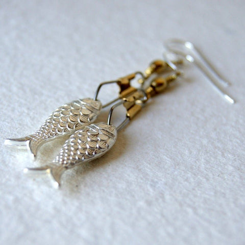 Silver Fish Earrings with Brass Swivel Snaps