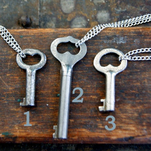 Antique Skeleton Heart Key Necklace