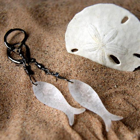 Matte Crystal Vintage Plastic Fish Earrings