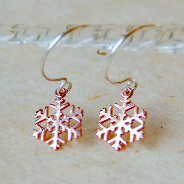 Rose Gold Snowflake Earrings by Wear Your Wild