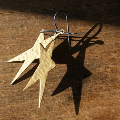 Hammered Brass Star Earrings with Sterling Silver Earwires