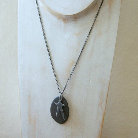 Black Beach Stone Necklace with Pewter Star Charm and Gunmetal Rolo Chain