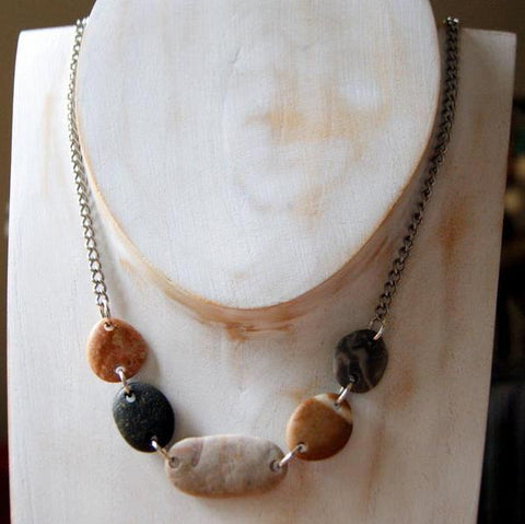 Double Drilled Beach Stone Necklace by Wear Your Wild