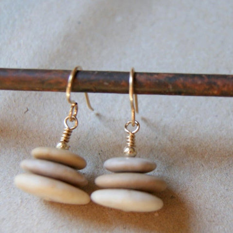 Cairn Earrings with  Beach Stones and Gold Filled Earwires