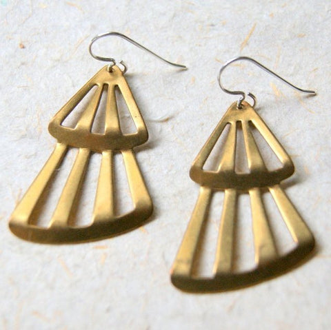 Vintage Brass Tree Earrings with Sterling Silver Earwires